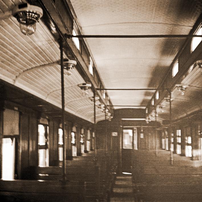Història de Catalunya. Tren de la Pobla. Inteior vagó 1961
