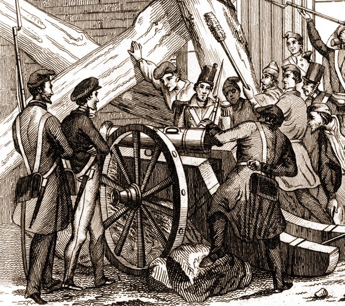 Història de Catalunya. Revolucio 1842. Canó plaça Sant Jaume